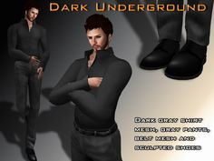 The outfit contain:  +Dark gray shirt mesh, differents sizes: L, M, S, XS, XXS.  +Gray pants mesh, differents sizes. L, M, S, XL, XS.  +Black belt (modify)  +Black sculpted shoes (resize scripts)