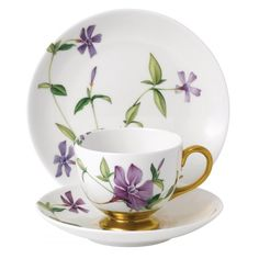 Floral Eden Footed Cup & Saucer Set by Wedgwood Tea Cup Set, Cup And Saucer Set, Tea Cup Saucer, Teapots And Cups, Teacups, China Tea Cups, Rose Tea, Tea Service, Wedgwood