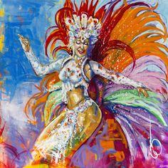 Rainha de Bateria by EUGI -16x16 inches. #art, #carnaval, #brazil, #drumqueen, giclee, #carnavalqueen,