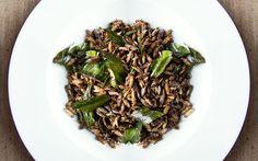 Fried crickets and pandanas leaf