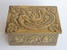 Rare Antique Lidded Box Griffon  Arts and Crafts Art Nouveau France 19th Century