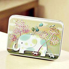 Rectangle Elephant Pattern Tin Box