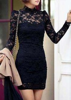 Long Sleeve Lace Dress Black