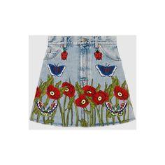Gucci Embroidered Denim Skirt (€1.695) ❤ liked on Polyvore featuring skirts, knee length denim skirt, butterfly skirt, a-line skirts, embroidered denim skirt and high-waist skirt