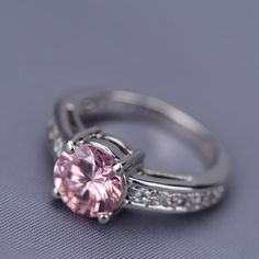 Pink Cubic Zirconia Solitaire Ring from Holsted Jewelers  Picture yourself in our gorgeous 3.3 carat pink cubic zirconia solitaire ring… inspired by expensive, coveted gems of the rich and famous, it's easy to love and better yet, easy to afford.