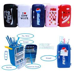 This is a very cute cartoon mini fridge shaped pen holder, the design of fridge door from the two delicious drinks logo: Pepsi and Coca Cola, to pure white love theme. Open the top cap of fridge, it i