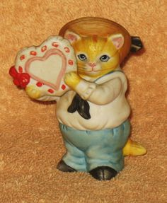 Rare Vintage Kitty Cucumber JB Buster holding Valentine heart by Catloversdream on Etsy