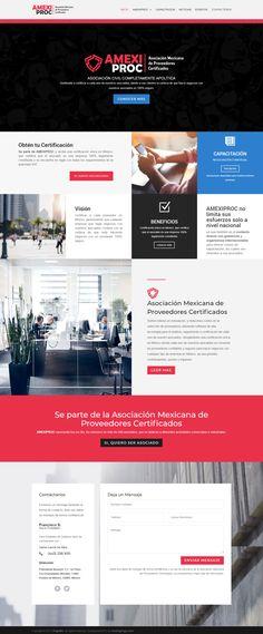 Diseño Web de Pagina de Asociación Mexicana de Proveedores Certificados  www.amexiproc.org.mx, proyecto desarrollado en el 2018 por HostingPage.Com Mood, Design, Design Portfolio Layout, Design Web, Parts Of The Mass, Blue Prints