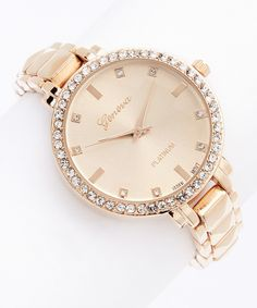 Look at this Rose Gold Pyramid Stud Bracelet Watch on #zulily today!