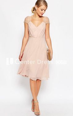 A-Line Knee-Length Ruched Cap Sleeve V-Neck Chiffon Bridesmaid Dress - UcenterDress