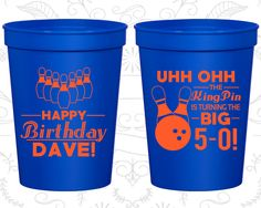 50th Birthday Party Cups, Cheap Birthday Stadium Cups, The Big 5-OH, Bowling Birthday Cups, Birthday Party Cups (20071)