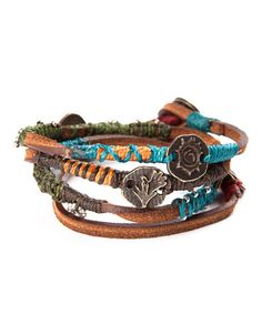Take a look at this Brown, Blue & Red Leather Bracelet by Wakami on #zulily today!