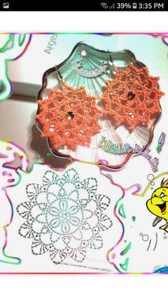 shared a photo from Flipboard Crochet Jewelry Patterns, Crochet Earrings Pattern, Crochet Motifs, Crochet Buttons, Crochet Flower Patterns, Crochet Diagram, Crochet Chart, Thread Crochet, Crochet Accessories