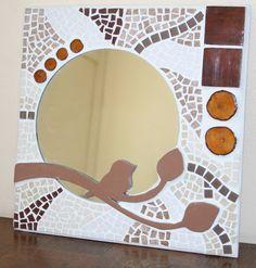 """Miroir en mosaïque """"l'oiseau sur la branche"""" dans les tons marrons : Décorations murales par latelierdesamantha"""