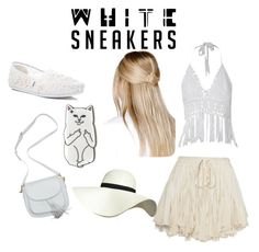 """""""White Sneakers"""" by stevie-marriner ❤ liked on Polyvore featuring TOMS, Boohoo and Pilot"""