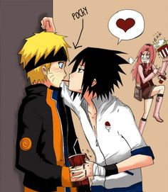 Naruto and Sasuke + pocky = heart THIS IS SO FUNNY IM SORRY FOR YAOI IF YOU DONT LIKE