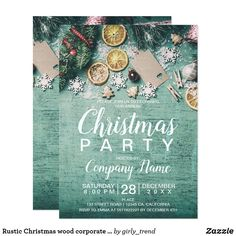 Shop Rustic Christmas wood corporate blue wreath photo Invitation created by girly_trend. Christmas Save The Date, Rustic Christmas, 28 December, Christmas Invitations, Photo Invitations, Christmas Wallpaper, Perfect Party, Rsvp, Girly