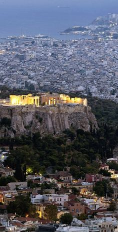 A view of The Acropolis of Athens in the evening.