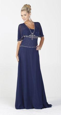 Chiffon Long Formal Navy Blue Dress Modest Short Sleeves Beading $267.99