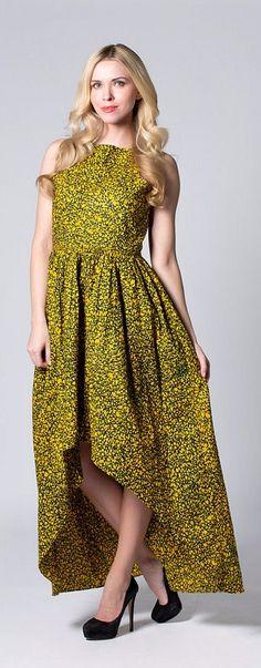 Yellow dress, Long Wax print Dress, Batik dress, Lined dress, African print…                                                                                                                                                     Más