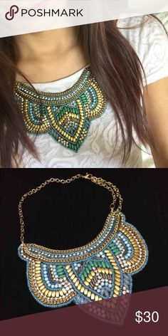 ⭐️Statement necklace from M.Haskell Beautiful bead detail statement necklace in gold tone fixtures, and overall turquoise/gold theme.  Brand new with tag.  Originally $36.50.  Bundle 3 items for 30% off.  Offers welcome, but please no low-balling.  No trade. M. Haskell Jewelry Necklaces