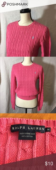 Ralph Lauren Cable Knit Sweater in Bubble Gum Pink 100% Cotton semi-fitted sweater in a gorgeous bubble gum pink. Excellent condition.  Ralph Lauren Blue Label. Size M Ralph Lauren Sweaters Crew & Scoop Necks