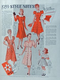 Fashion Patterns  Print Ad  30 s Color Illustration  1939 style notes 1939 Farmer s Wife Magazine
