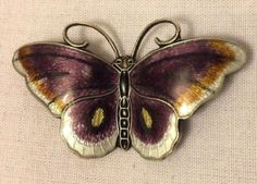 """Vintage 2"""" Hroar Prydz Sterling Enamel Butterfly Pin Brooch Norway Purple White in Jewelry & Watches, Vintage & Antique Jewelry, Fine, Designer, Signed, Pins, Brooches 