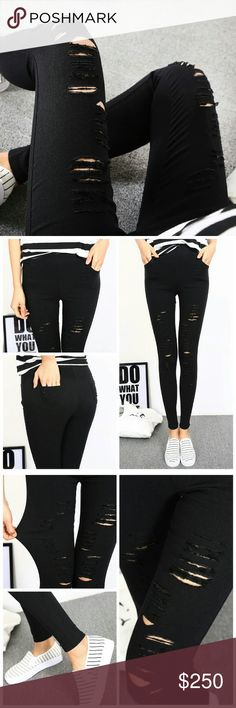 Super stretch distressed black skinnies These skinny pants literally stretch across sizes! Marked XL, these look like a S when just laid out solo, & they stretch to accommodate anywhere from size small to large. The small framed model is wearing these in XL, can you believe it?! It's more like a 1 size fits all pant (Which is hard to find!) //stretch fabric looks like denim // intentionally textured featuring side and back pockets, these black skinny pants are perfect for your modern…
