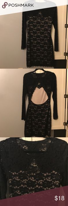 Black Lace dress! Black all over lace...open back...mini dress. From express, worn once! Express Dresses Mini