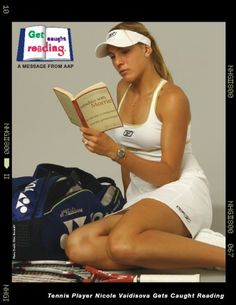 Nicole Vaidiscova reads.  Get Caught Reading | Celebrity Posters