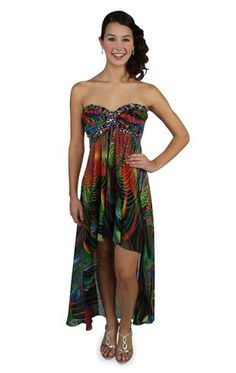 novelty stone trimmed print chiffon high low prom dress. prom this year
