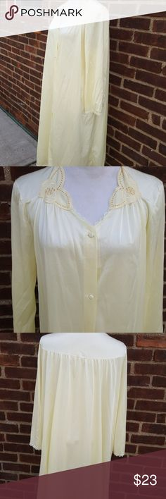 Vintage eggshell yellow Vassarette gown L Beautiful vintage condition no pulls. 15in shoulder-to-shoulder and approximately 20 21 under the arms. 43 inches long period 1970s. Vintage Intimates & Sleepwear