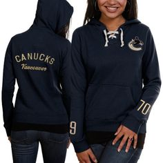 Women s Vancouver Canucks Old Time Hockey Navy Blue Queensboro Lace-Up  Pullover Slim Fit Hooded Sweatshirt b9ab82bbe