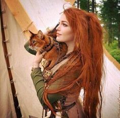 Nordic woman with cat. Great for a reference on an OC for lotr and the hobbit. Credit to candyclysm on tumblr for photo.