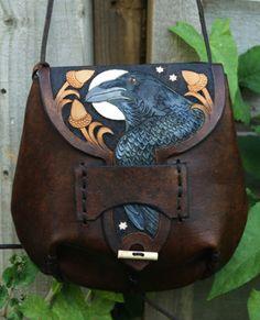 Leather raven purse.
