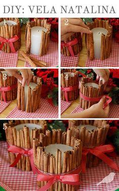 cinnamon candle, vela de canela, diy, natal, christmas * Decoração de Nata com velas / Decoração - Blog Pitacos e Achados -  Acesse: https://pitacoseachados.com  – https://www.facebook.com/pitacoseachados – https://www.tsu.co/blogpitacoseachados -  https://plus.google.com/+PitacosAchados-dicas-e-pitacos http://pitacoseachadosblog.tumblr.com #pitacoseachados