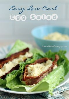 Easy Low Carb Egg Salad Recipe that is dairy free and perfect to pack for your keto lunch! - from ibreatheimhungry.com
