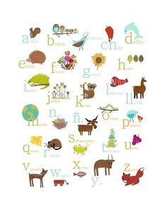 Alfabeto Español impresión 11 x 14 vivero pared por ChildrenInspire                                                                                                                                                                                 Más