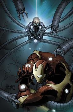 Iron Man vs Dr Octopus by Salvador Larroca Marvel Comics, Marvel Vs, Marvel Heroes, Comic Book Artists, Comic Books Art, Infinity War, Iron Man Pictures, Superior Iron Man, Dr Octopus