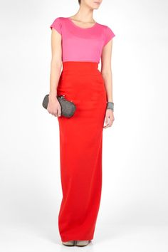 Color block with a pink top and bright red maxi