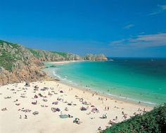Porthcurno - the most amazing beach in Cornwall. Whiter than white sand, boiling hot (although the water is always freezing probably thanks to the high salt content, no I don't know how that works either!), and best of all is right next to a nudist beach! Cornwall England, West Cornwall, Devon And Cornwall, Yorkshire England, Yorkshire Dales, Cornwall Coast, Places In Cornwall, Cornwall Beaches, Camping Cornwall
