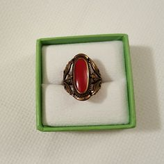Coral Ring Coral ring. Gold tone finish over brass. Size 9. Shade of red. Never worn! jcpenney Jewelry Rings