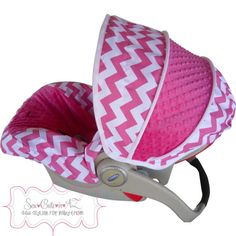 Hot Pink Chevron with Hot Pink Infant Car Seat Cover