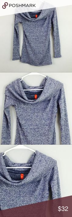 Heathered Blue Gray Cowl Neck Long Sleeve Blouse! Size medium! Fashionomics Tops Tees - Long Sleeve