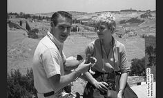 Paul Newman and Joanne Woodward during the filming of Exodus