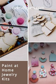 This kit makes a great gift for birthdays, holidays, or a crafty night in.  Our DIY Kit comes with: 2 Pairs of assembled wooden statement earrings (nickel and lead free earring post) 8 paint colors, 1 brush, 1 drawstring gift bag