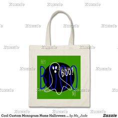 "Cool Custom Monogram Name Halloween Ghost Boo Bag features a fun abstract overlap of text and a line art ghost saying boo. Makes a cool halloween bag for boys. Add a Monogram or Name. Click ""Customize"" to adjust space for a name or to add other custom fun. Design by Ms_Jade. Sold only on Zazzle. Visit Ms_Jade to DIY, wear, display, and play with style. www.zazzle.com/Ms_Jade*#halloween2017 #halloween #kids #trickortreat"