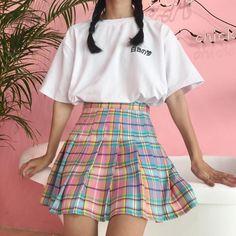 51ed8fcad3 GRADIENT PLAID SKIRT on Storenvy Japanese Harajuku, Fruit Gushers, Cute  Skirts, Mini Skirts