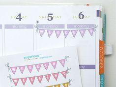 10 x Weekend planner stickers sampler bunting flags by sugarloop